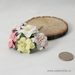 Цветы бумажные мальбери ДВУХСЛОЙНЫЕ ЦВЕТОЧКИ РОЗОВЫЕ И ЖЕЛТЫЕ МИКС 4см 5шт