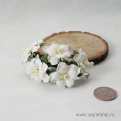 Цветы бумажные мальбери ДВУХСЛОЙНЫЕ ЦВЕТОЧКИ БЕЛЫЕ 4см 5шт