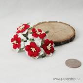 Цветы бумажные мальбери ДВУХСЛОЙНЫЕ ЦВЕТОЧКИ КРАСНО-БЕЛЫЕ 4см 5шт
