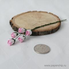 Цветы бумажные мальбери БУТОНЫ РОЗ РОЗОВЫЕ 1см 5шт