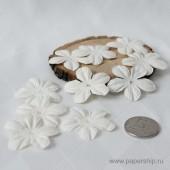 Цветы бумажные мальбери ЛЕПЕСТКИ БЕЛЫЕ 4см 10шт