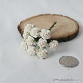 Цветы бумажные мальбери РОЗЫ БЕЛЫЕ 1,5см 10шт