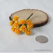 Цветы бумажные мальбери РОЗЫ ЖЕЛТЫЕ 1,5см