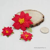 Цветы бумажные мальбери ПУАНСЕТТИИ КРАСНЫЕ микс 3шт