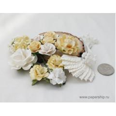 Цветы бумажные мальбери НАБОР 02