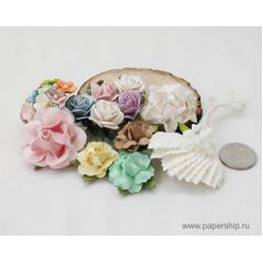 Цветы бумажные мальбери НАБОР 05