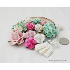 Цветы бумажные мальбери НАБОР 06