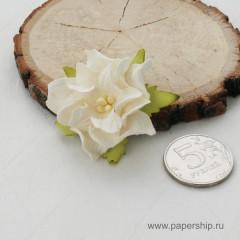 Цветы бумажные мальбери ГАРДЕНИИ БЕЛЫЕ 4см 1шт