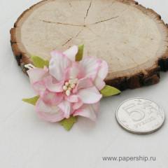 Цветы бумажные мальбери ГАРДЕНИИ БЕЛО-РОЗОВЫЕ 4см 1шт