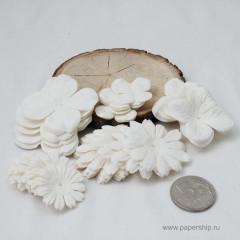 Цветы бумажные мальбери ЛЕПЕСТКИ НАБОР БЕЛЫЕ 50шт