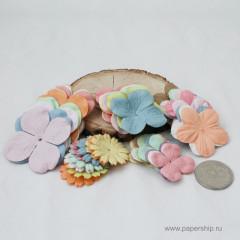 Цветы бумажные мальбери ЛЕПЕСТКИ НАБОР ПАСТЕЛЬНЫЕ МИКС 50шт