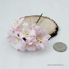 Цветы бумажные мальбери ЛИЛИИ БЕЛО-РОЗОВЫЕ 4см 5шт