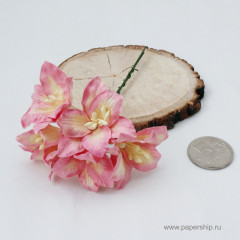 Цветы бумажные мальбери ЛИЛИИ КРЕМОВО-РОЗОВЫЕ 4см 5шт