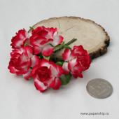 Цветы бумажные мальбери РОЗЫ МАЙСКИЕ БЕЛО-КРАСНЫЕ 4см 5шт