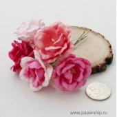 Цветы бумажные мальбери РОЗЫ ПИОНОВИДНЫЕ РОЗОВЫЕ МИКС 5см 5шт