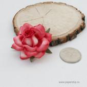 Цветы бумажные мальбери РОЗЫ SWEET MOON БЕЛО-КРАСНЫЕ 5см 1шт