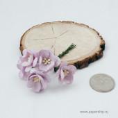 Цветы бумажные мальбери ЦВЕТЫ ВИШНИ СВЕТЛО-СИРЕНЕВЫЕ 2,5см 5шт