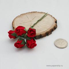 Цветы бумажные мальбери БУТОНЫ РОЗ ПОЛУОТКРЫТЫЕ КРАСНЫЕ 2см 5шт