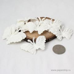 Бабочки бумажные мальбери БАБОЧКИ БЕЛЫЕ СРЕДНИЕ 10шт