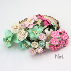 Цветы бумажные мальбери НАБОР #4