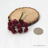 Цветы бумажные мальбери РОЗЫ ТЕМНО-КРАСНЫЕ 1,5см 10шт