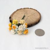 Цветы бумажные мальбери БЕЛО-ЖЕЛТЫЕ МИКС 1,5см 10шт