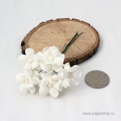 Цветы бумажные мальбери КУДРЯВЫЕ БЕЛЫЕ 2,5см 5шт