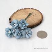 Цветы бумажные мальбери КУДРЯВЫЕ СИНИЕ 2,5см 5шт