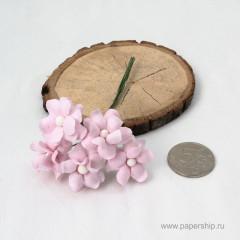 Цветы бумажные мальбери КУДРЯВЫЕ НЕЖНО-РОЗОВЫЕ 2,5см 5шт