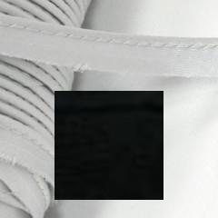 Кант атласный с вшитым шнуром Gamma 10мм ЧЕРНЫЙ (на отрез)