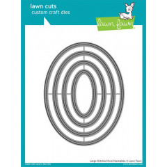 Набор ножей для вырубки Lawn Fawn LARGE STITCHED OVAL STACKABLES