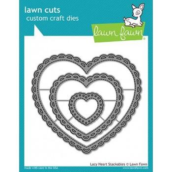 Набор ножей для вырубки Lawn Fawn LACY HEART STACKABLES