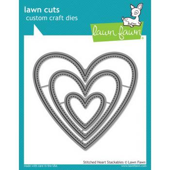 Набор ножей для вырубки Lawn Fawn STITCHED HEART STACKABLES