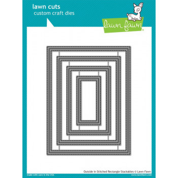 Набор ножей для вырубки Lawn Fawn OUTSIDE IN STITCHED RECTANGLE STACKABLES