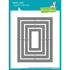 Набор ножей для вырубки Lawn Fawn OUTSIDE IN STITCHED SCALLOPED RECTANGLE STACKABLES