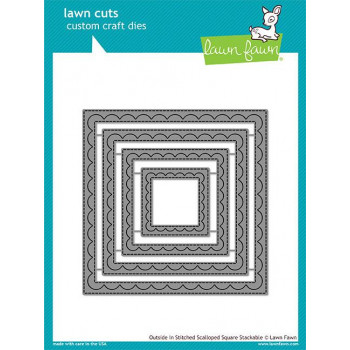 Набор ножей для вырубки Lawn Fawn OUTSIDE IN STITCHED SCALLOPED SQUARE STACKABLES