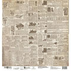 Лист бумаги для скрапбукинга MoNa design ОБЪЯВЛЕНИЯ коллекция Мастерская в конце улицы 30х30см