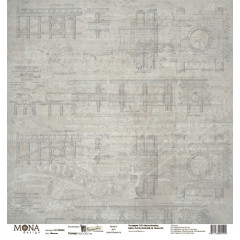 Лист бумаги для скрапбукинга MoNa design КАЛЬКА коллекция Мастерская в конце улицы 30х30см