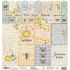 Лист бумаги для скрапбукинга MoNa design КАРТОЧКИ коллекция Осенняя история 30х30см