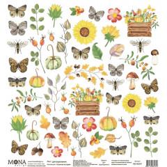 Лист бумаги для скрапбукинга MoNa design коллекция Осенняя история 30х30см для вырезания