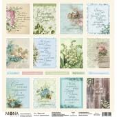 Лист бумаги для скрапбукинга MoNa design КАРТОЧКИ коллекция Дыхание весны 30х30см