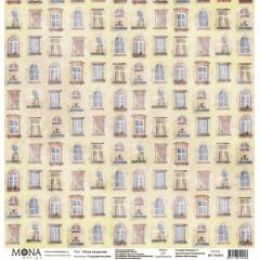Лист бумаги для скрапбукинга MoNa design ОКНА НАПРОТИВ коллекция Городские истории 30х30см
