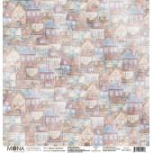 Лист бумаги для скрапбукинга MoNa design ДОМА И ДОМИКИ коллекция Городские истории 30х30см