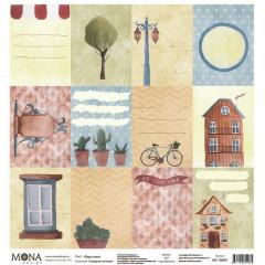 Лист бумаги для скрапбукинга MoNa design КАРТОЧКИ коллекция Городские истории 30х30см