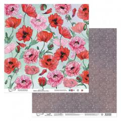 Лист бумаги для скрапбукинга Mr.Painter ЛИСТ 2 коллекция Цветочный атлас. Мак 30х30см