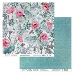 Лист бумаги для скрапбукинга Mr.Painter ЛИСТ 3 коллекция Цветочный атлас. Мак 30х30см