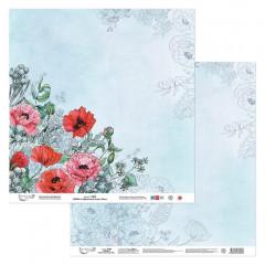 Лист бумаги для скрапбукинга Mr.Painter ЛИСТ 4 коллекция Цветочный атлас. Мак 30х30см