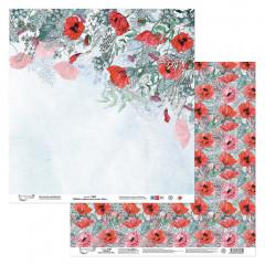 Лист бумаги для скрапбукинга Mr.Painter ЛИСТ 6 коллекция Цветочный атлас. Мак 30х30см