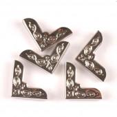 Уголки для обложки металлические С УЗОРОМ СЕРЕБРО 21х21мм 4шт