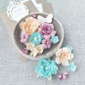 Набор цветов Pastel Flowers ПИОНЫ И РОЗЫ мятно-персиковые